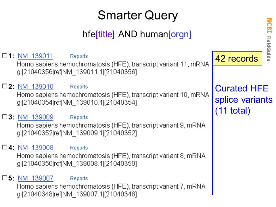 Smarter Query hfe[title] AND human[orgn] 42 records Curated HFE